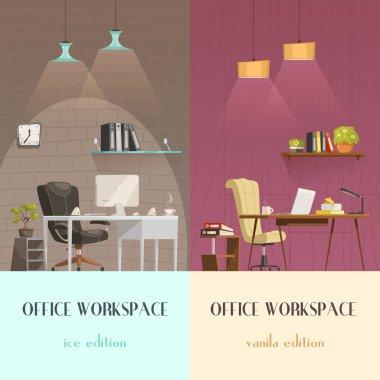 Office Interior Lighting 2 Cartoon Banners