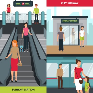 Subway People Vertical Banners