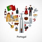 Fényképek Portugália lapos illusztráció