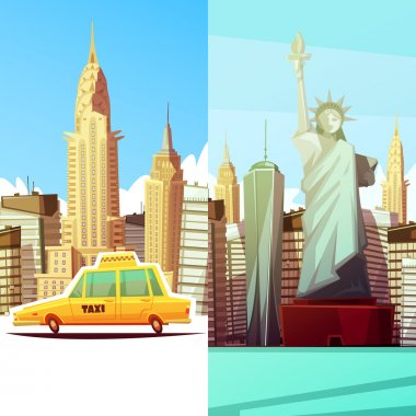 New York Two Vertical Banners