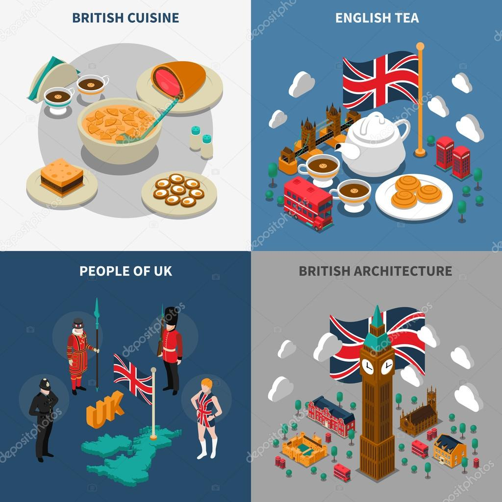 great britain touristic isometric 2x2 icons set stock vector