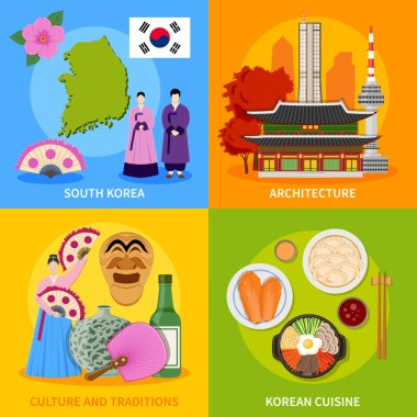 Korea Culture 4 Flat Icons  Square