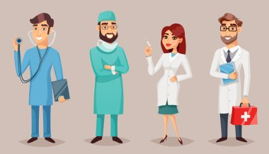 Health care nursing medical professionals people retro cartoon poster set with practitioner nurse surgeon dentist vector illustration clip art vector