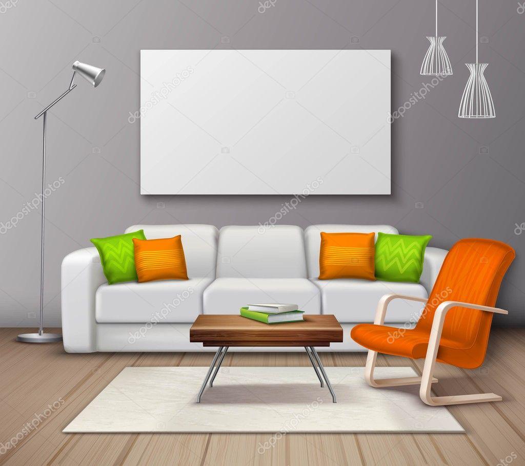 Modern interieur kleuren mockup realistische poster for Interieur kleuren