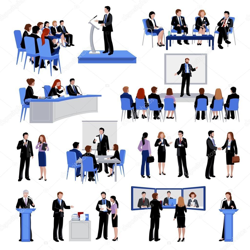 Coleção de ícones planos de pessoas que falam em público ...