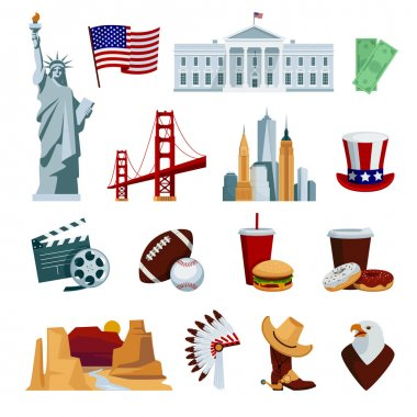 USA Flat Icons Set
