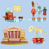 Fotografie Museum Retro Cartoon 2x2 Flat Icons Set