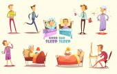 Good And Bad Sleep Icons Retro Cartoon Set