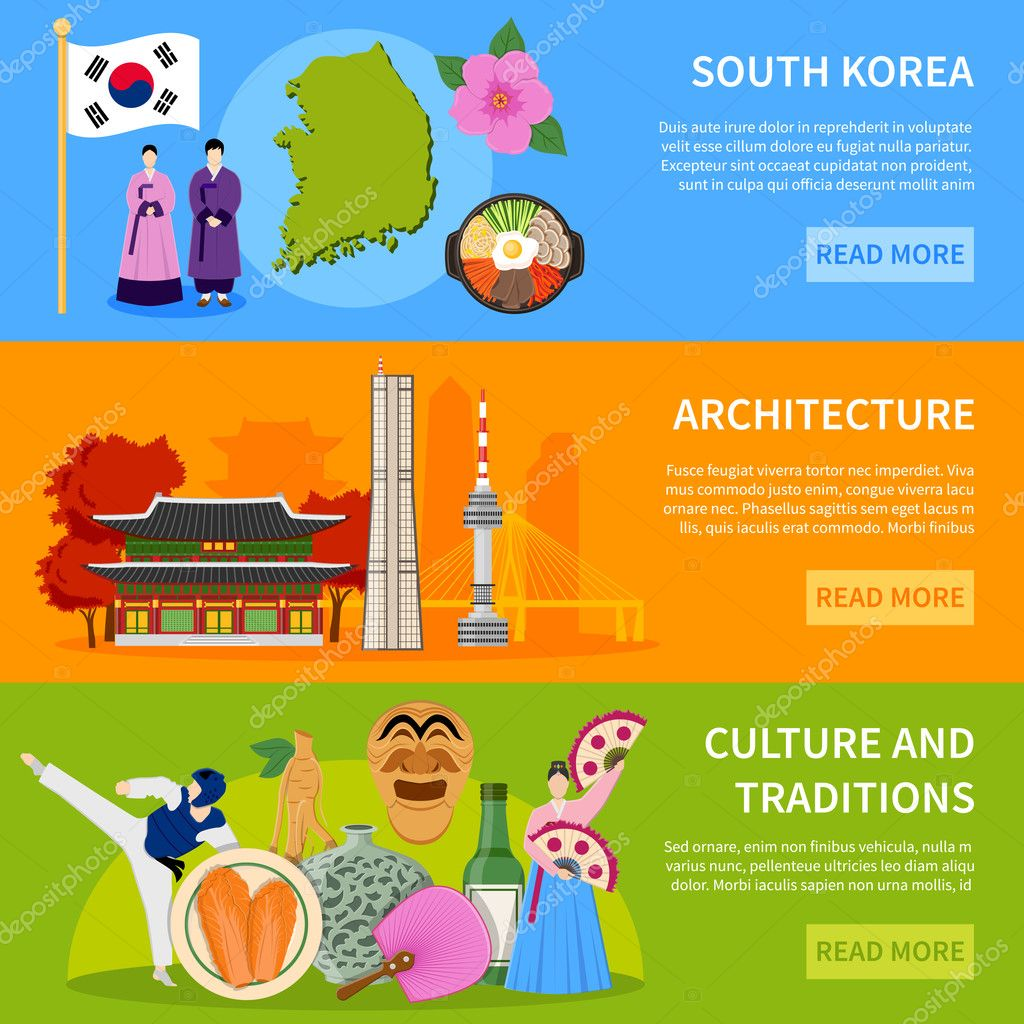 .South Korea Culure Flat  Banners Design
