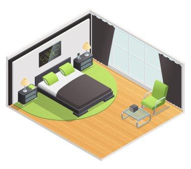 Bedroom Interior Isometric View Poster