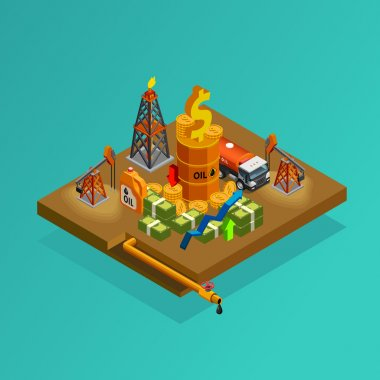Oil Industry Production Profits Isometric Poster
