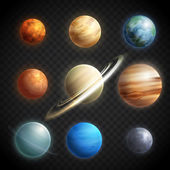 Planety realistické transparentní sada