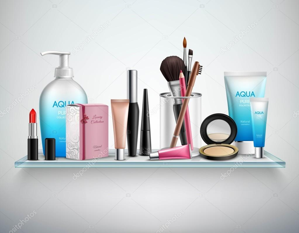 Makeup Cosmetics Accessories Shelf  Realistic Image