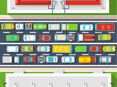 Traffic Jam Top View Poster