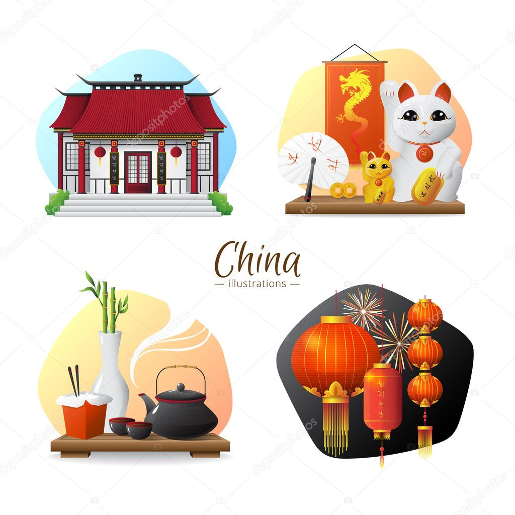 China Symbols 4 Icons Square Composition Stock Vector
