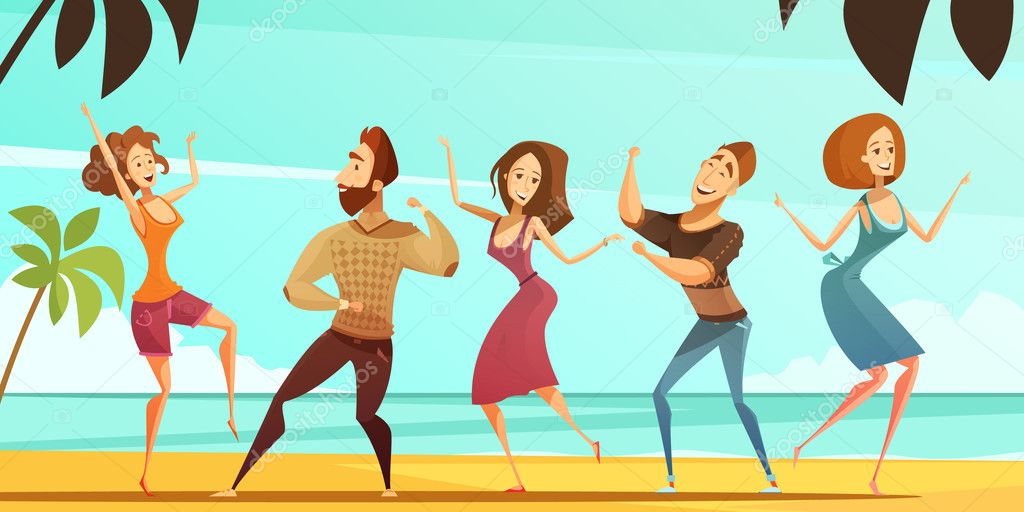 Dancing People Vacation  Party Cartoon Poster