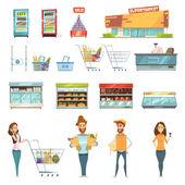 Fotografie People In Supermarket Cartoon Icons Set
