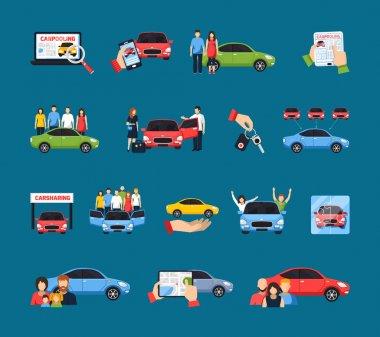 Carsharing Icons Set
