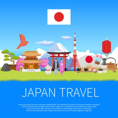Japan Travel Flat Composition Advertisement Poster
