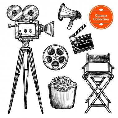 Cinema and making films hand drawn vintage set with clapper reel camera chair loudspeaker and popcorn isolated on white background sketch vector illustration stock vector