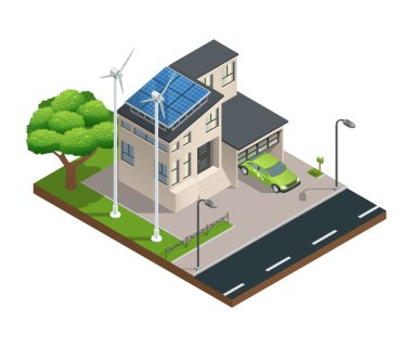 Modern green eco house with garage lawn solar panels producing electricity on roof and two wind turbines isometric vector illustration stock vector