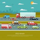 Sebesség autópályán illusztráció