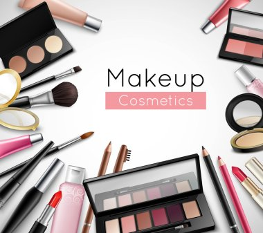 Makeup Cosmetics Accessories Realistic Composition Poster