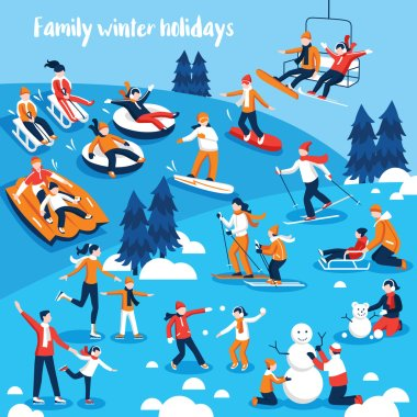 Design collection of decorative icons  with people and their kids engaged in winter sports on holidays flat vector illustration clip art vector