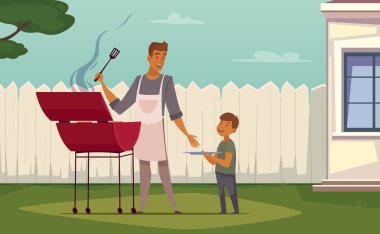 Picnic Barbecue Father Son Cartoon Poster