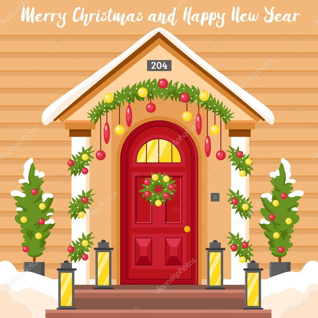 tarjeta de a o nuevo con casa decorada para navidad