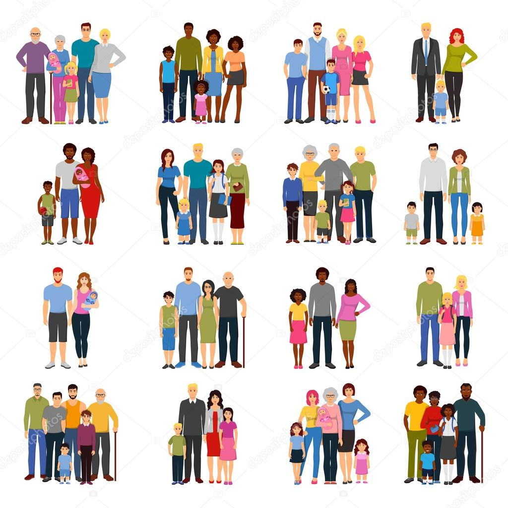 Young couples and families with teenage children grandparents fathers and mothers flat isolated icons set vector illustration stock vector