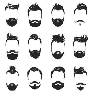 Hairstyles Beard And Hair Monochrome Set