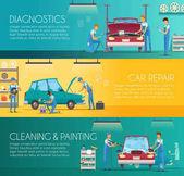 Fotografia Centro riparazione auto retrò dei cartoni animati Banners