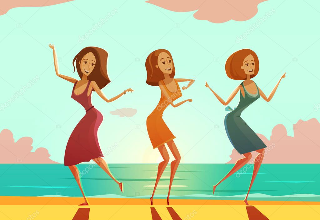 Women Dancing On Beach Cartoon Poster