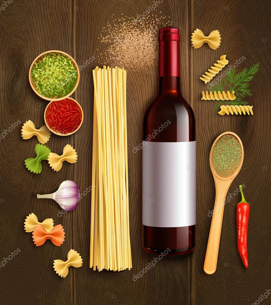 Dry Pasta Wine Realistic Composition Poster