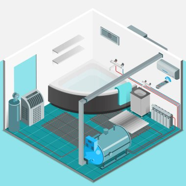 Heating cooling system interior isometric template with conditioner compressor battery bath in flat style isolated vector illustration clip art vector