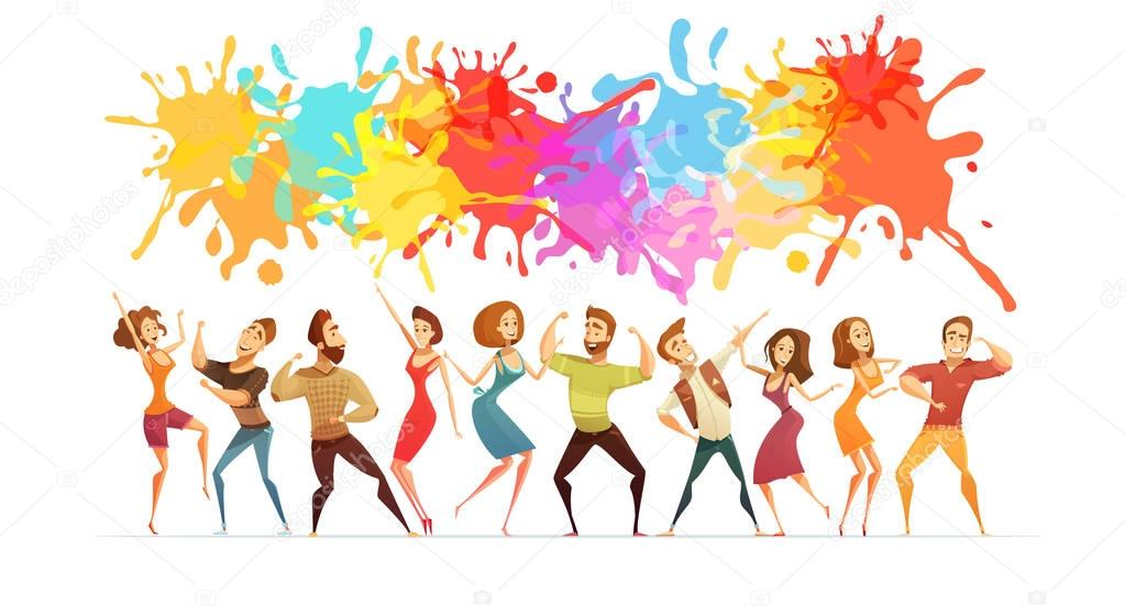 Dancing People Banner Colored Cartoon Banner