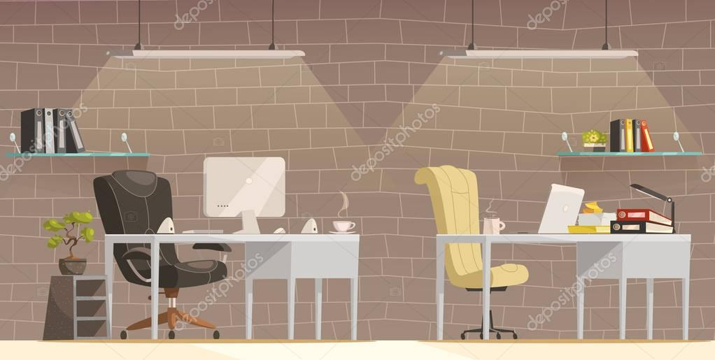 Moderne kantoor bureau verlichting cartoon poster u stockvector