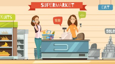 Supermarket Cashier at Register Retro Cartoon Poster