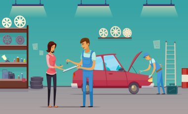 Car Service Garage Cartoon Composition Poster