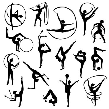 Black Gymnastics Female Silhouettes