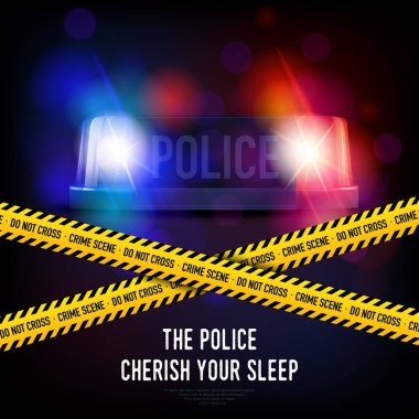 Police crime scene with yellow tape red and blue flashing siren realistic vector illustration stock vector