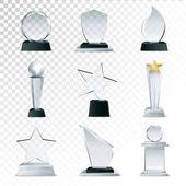 Skleněné trofeje kolekce transparentní realistický obraz