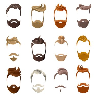 Beard And Hairstyles Face Set