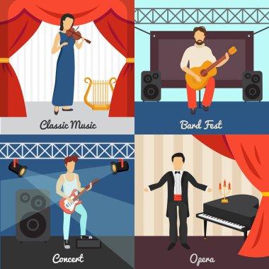 Theatre Concept Icons Set