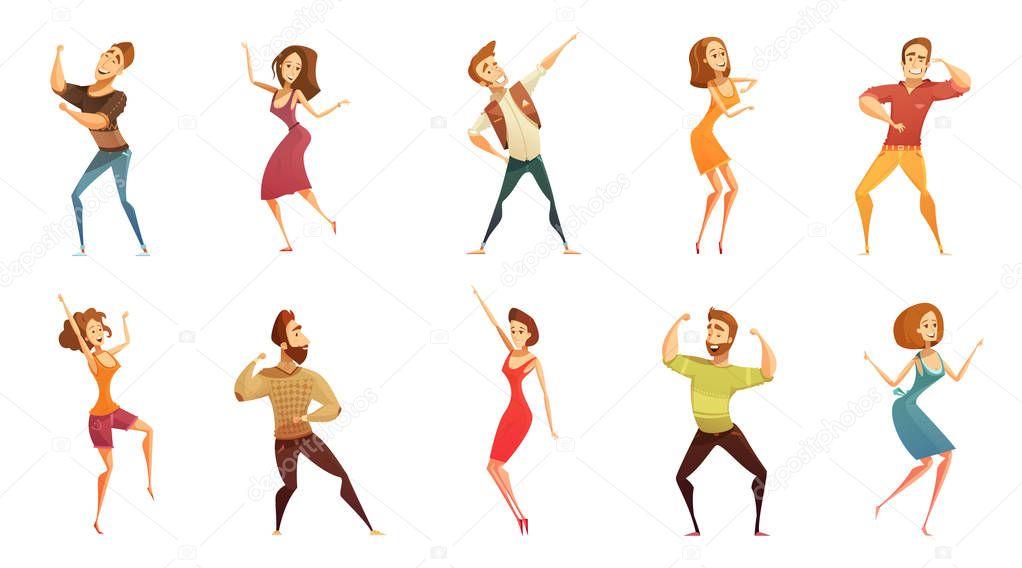 Dancing People Funny Cartoon Icons Set