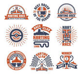 Photo Karting Motor Race Logo Emblem Set