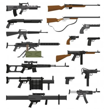 Big flat set of various weapons guns pistols and rifles isolated on white background vector illustration stock vector