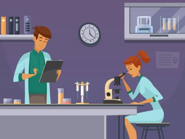Two young scientists in chemistry lab making microscope slides and taking notes retro cartoon poster vector illustration stock vector