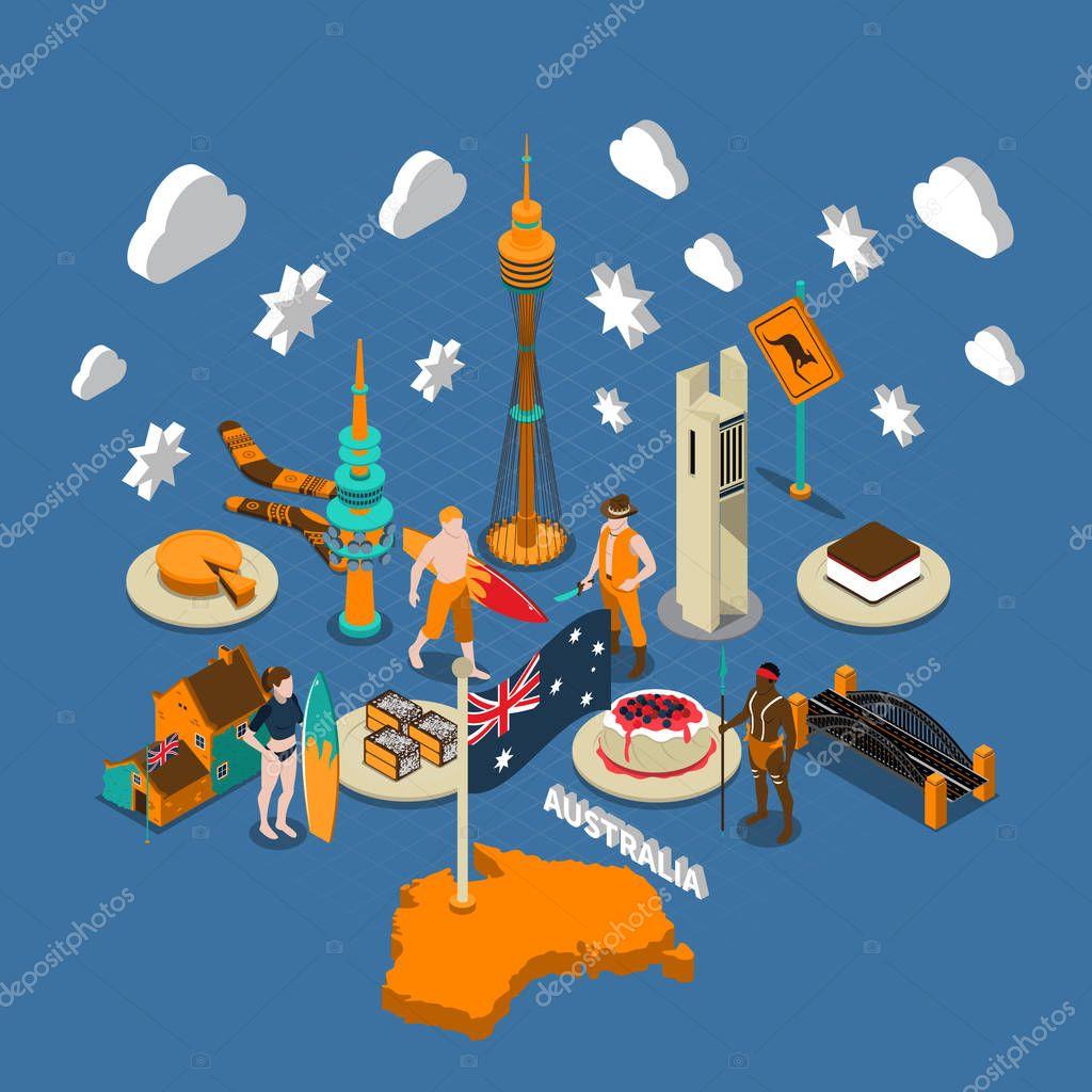Australian Touristic Attractions Symbols Isometric Composition